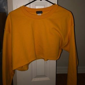 yellow cropped sweater from pretty little thing